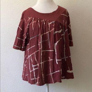 Anthropologie Akemi + Kin maroon mixed media shirt